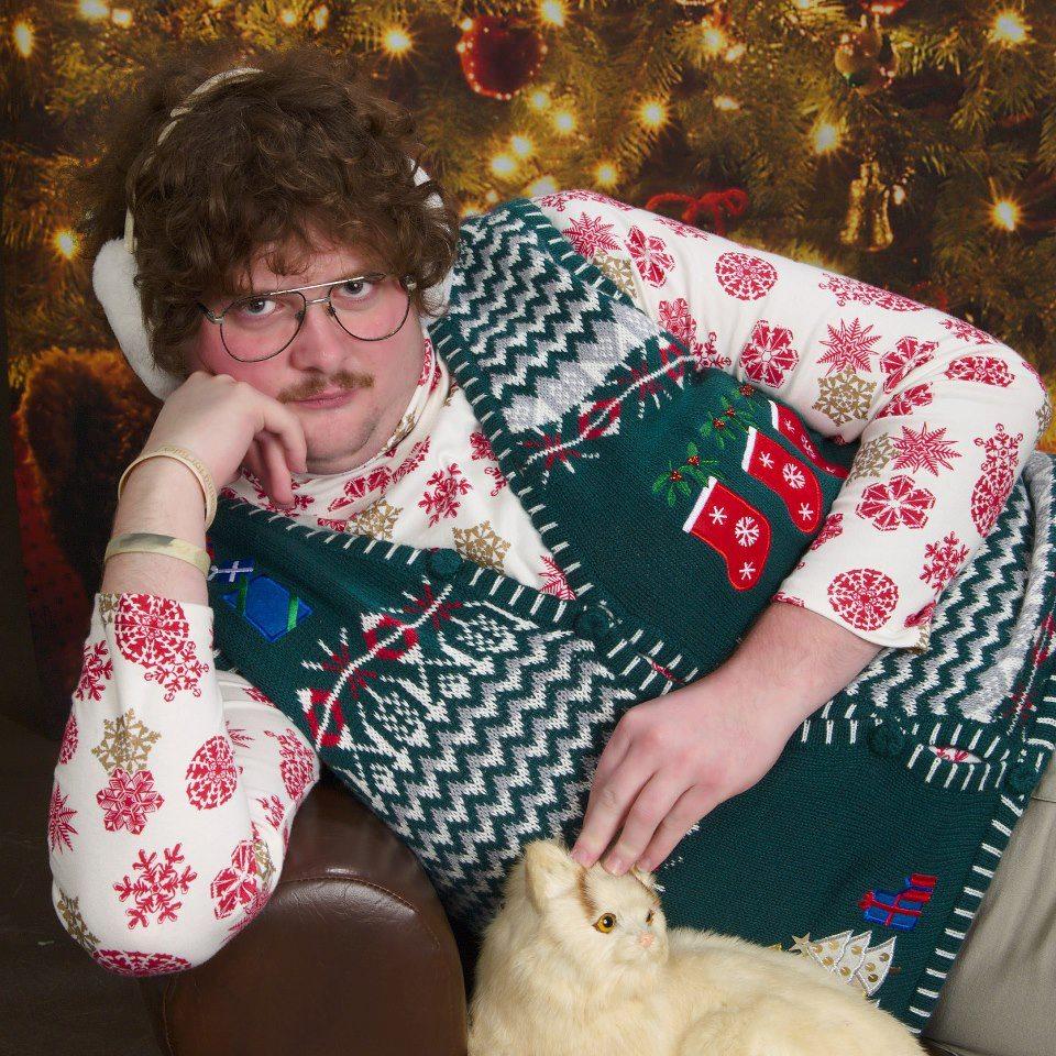 PsBattle: Creepy Christmas Sweater Man.. and cat. | Rebrn.com